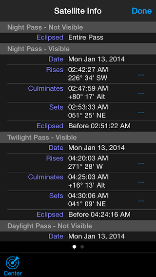 Satellite Safari's Info view shows ISS pass times.