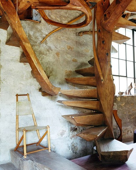 Warton Esherick's Staircase. The cover image of Handcrafted Modern