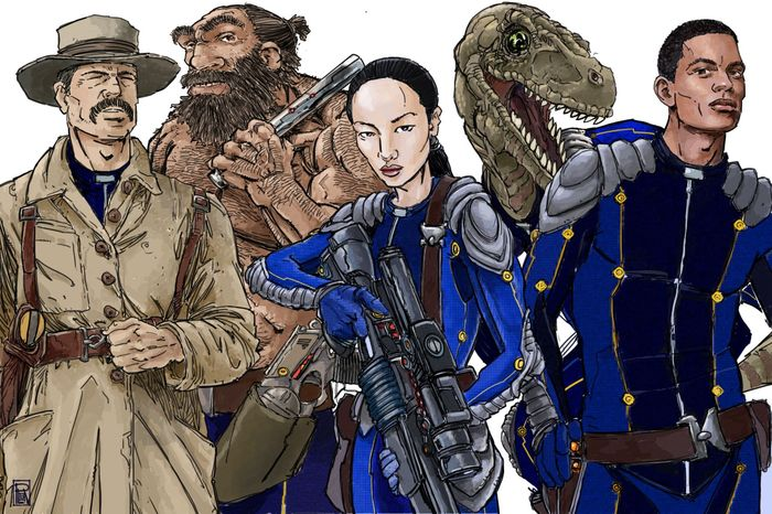A typical TimeWatch team: Mace Hunter (19th c. big game hunter), Uurrk (neanderthal), Altani (13th c. Mongol princess), and Kelfala (24th c. starship pilot) get photo-bombed by Skegg the time-raptor