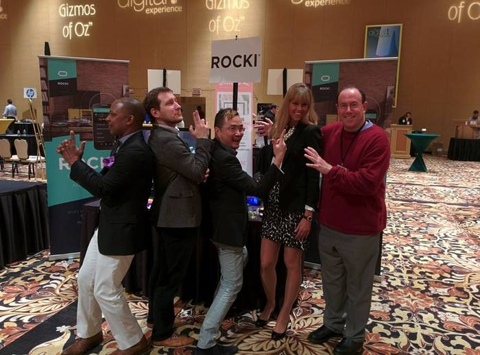 "ROCKI Team at CES 2014, Pepcom's Digital Experience Media Event - Shaun, Dennis, Nick, Lorna, Neal - some have jokingly commented that it's almost like a boyband with ""one for every demographics"""