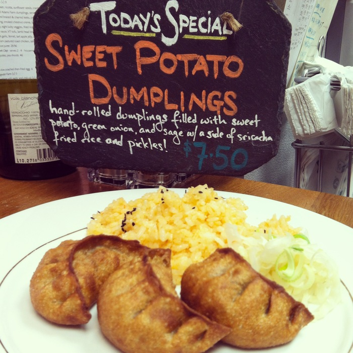 Our new menu features sweet potato dumplings every day!