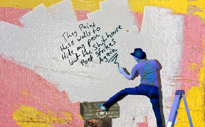"""the re-worked graffiti, traced off the wall, and taken """"off the stall"""" by an artist"""