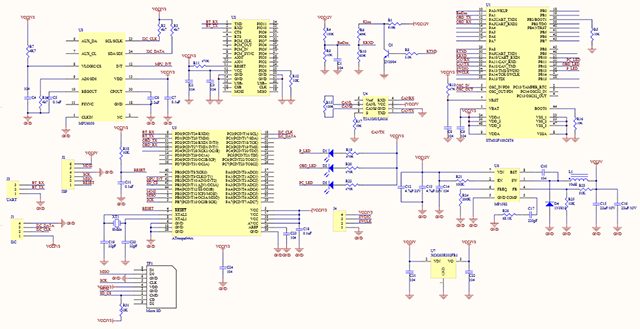 Schematics of Freematics OBD-II Adapter (without GPS)