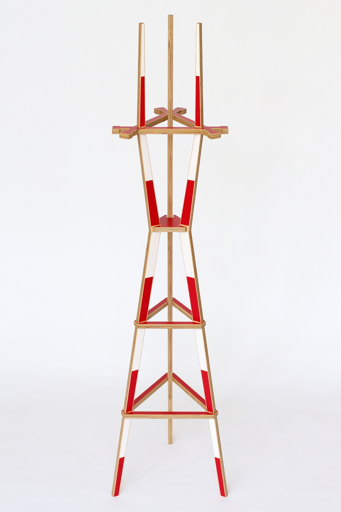 Sutro Coat Rack in red and white