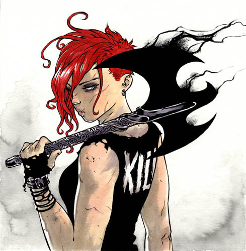 Tessa Battle and her axe The Black Dove by Ross Campbell