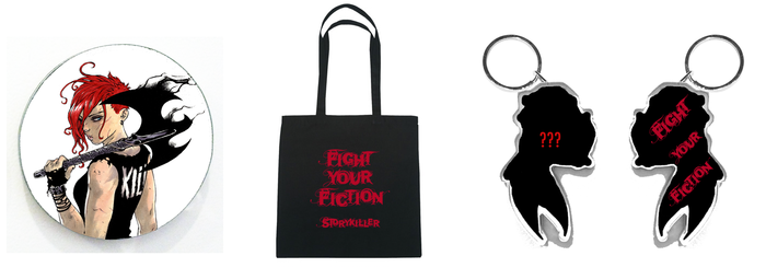 "Rough mock-ups of Swag: Tessa Battle Magnet, Fight Your Fiction Tote (15""x15""), and the shaped double-sided acrylic key chain (front TBD with Fight Your Fiction back))"