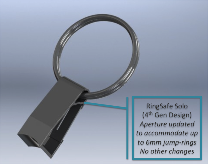 RingSafe updated design with 6mm Jumpring Aperture