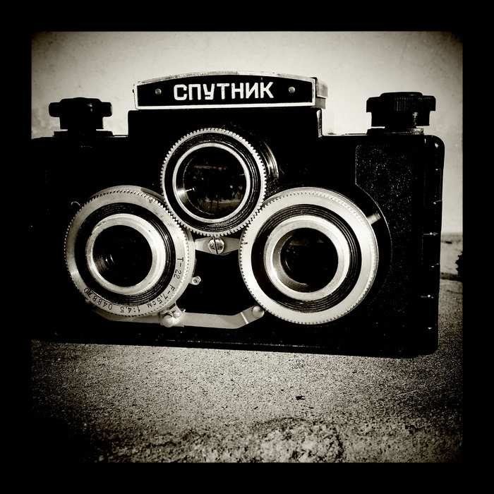 Sputnik russian made stereoscopic medium format camera. Funky beast but captures great photos