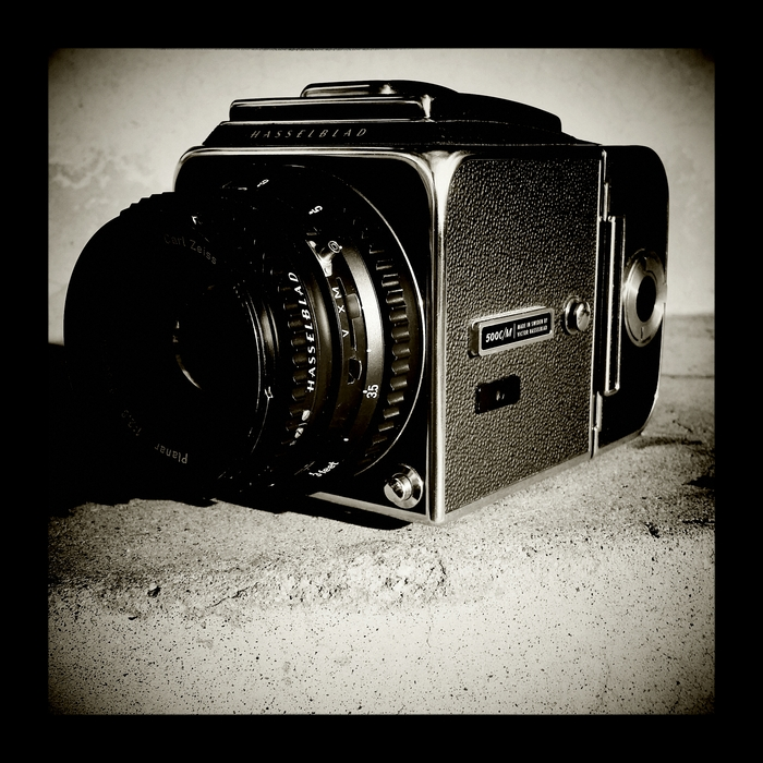 Hasselblad medium format camera. I love this camera the glass is superb, its fun to use and its swedish!