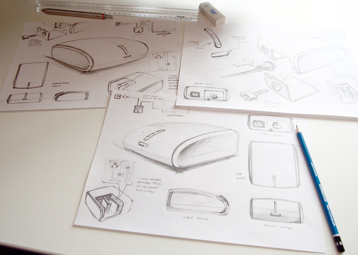 Sketches of our chosen design for the Wi-Fi enabled console to be used with the TV.