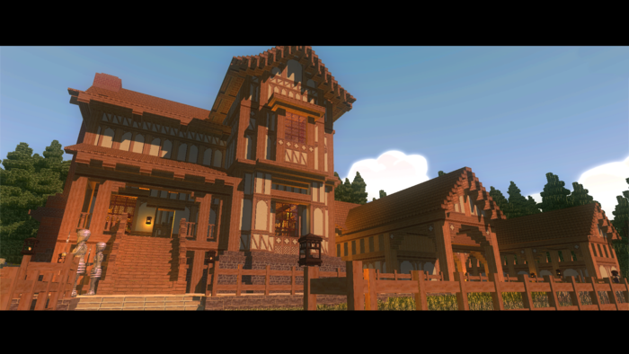 Our blocks allow for the player to design in many styles, such as this half-timber teutonic village