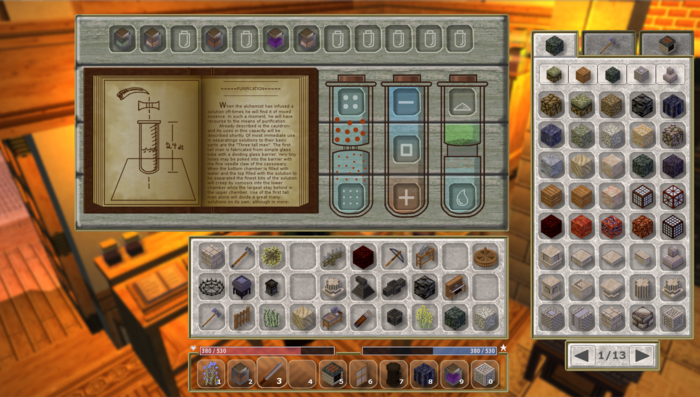 Second page of alchemy station interface; tubes for separation tasks and storage shelf shown