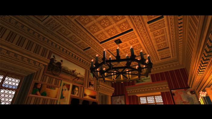 Coffered ceiling paneling, cornice-moldings, glazed windows, and decorative lighting elements