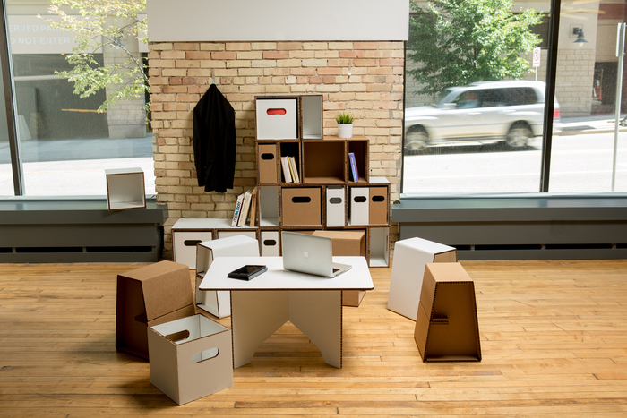 """Flatgoods - Collaborative setting (18"""" Stool, Rectangle Coffee Table, Full Size Cubby w/drawer & Half Size Cubby w/drawer.)"""