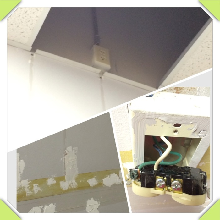 Spackling and electrical work in the Gallery