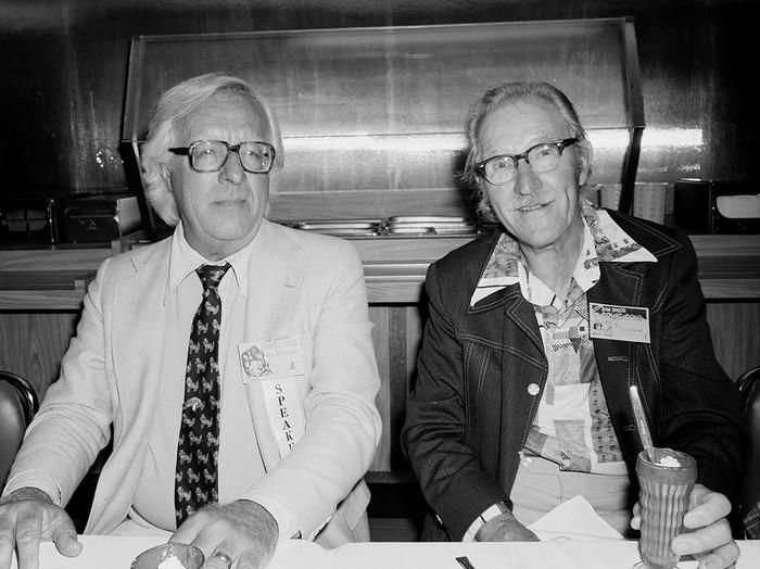 """Ray Bradbury and Bill Woggon (""""Katy Keene""""), 1981"""