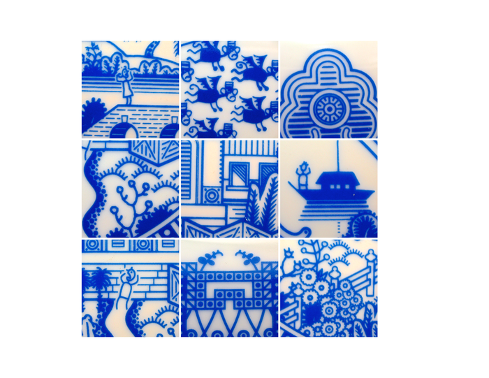 Details from the first Calamityware plate which featured flying monkeys.
