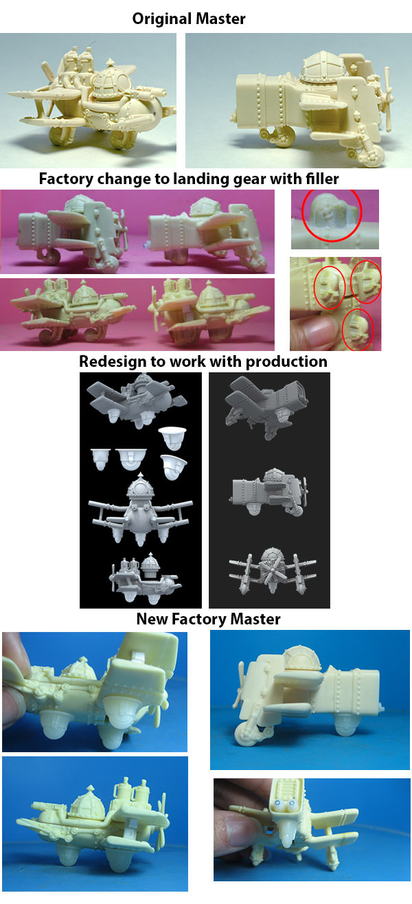 The multi-step process of creating a perfect plastic landing gear!
