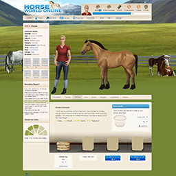 This is a horses profile page showing the feeding pane. You can set your horses feeding plan and he'll be automatically fed every day.