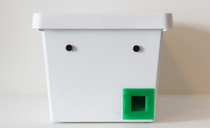 Some of the earliest prototypes were constructed with white plastic bins.