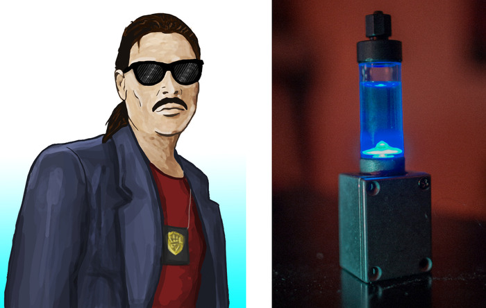 Concept Art of Jack Gibson and the experimental substance, X5