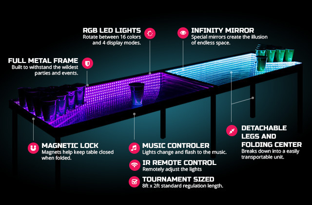 Infinity Glow: LED Beer Pong Table with more features then you can count (on one hand).