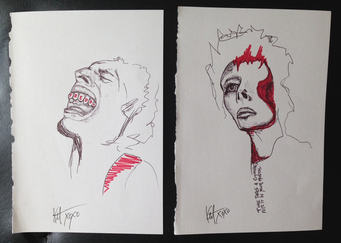 Freddy Mercury and David Bowie original drawings