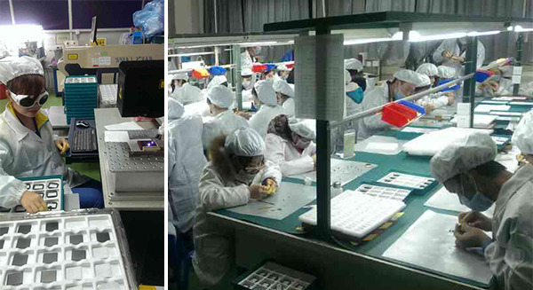 (Left) Laser etching the back of Pebble Steel. (Right) Our talented team carefully assembling each Pebble Steel.