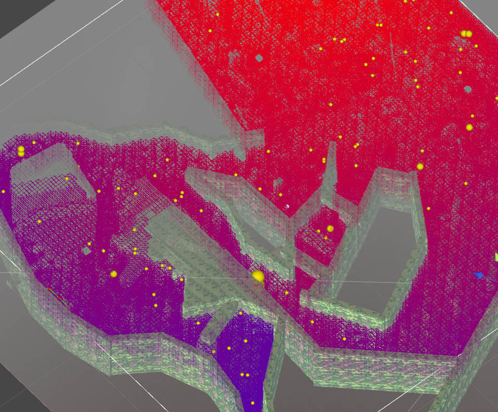 Wow colors! This is actually very important. Aside from the mossy walls, these is a graphical representation of dynamic AI pathing.  I build a level and throw it at the Director and it'll try to calculate all the possible routes to sends enemies your way.