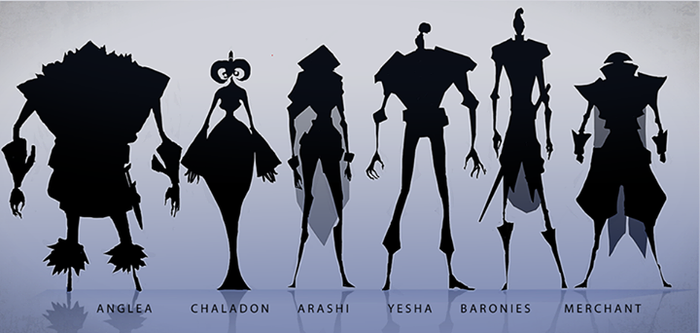 Silhouette studies for our heavily stylized introduction trailer to the world of Guns of Icarus Online.  This is the first official glimpse of who these people are.