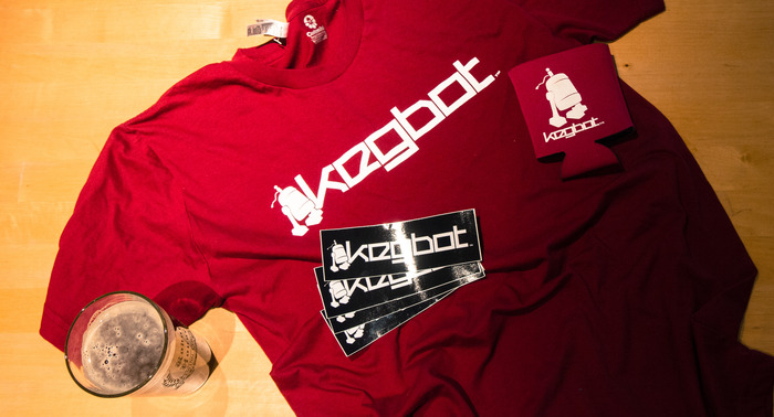 Be the first on your block to rock the Kegbot logo (beer probably not included).