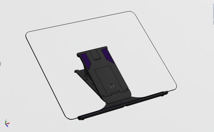 Flip-out wings place rubber feet underneath each corner of your tablet