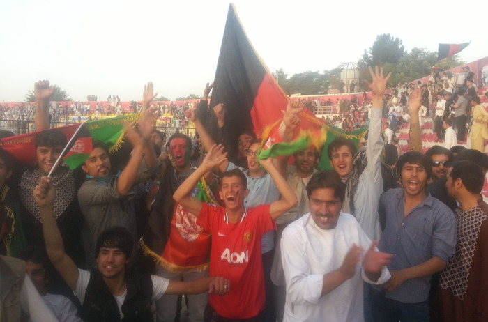 Fans celebrate the Afghanistan national team's 3-0 victory over Pakistan (August, 2013)