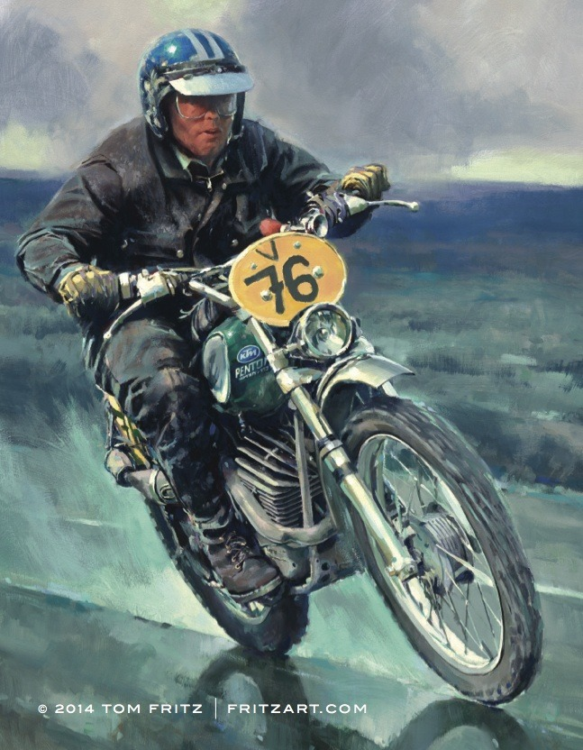 "Tom Fritz' painting of John Penton, ""Five Days Down"""