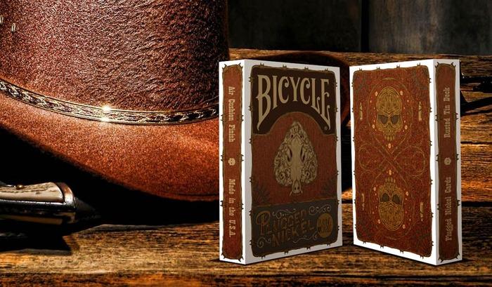 Plugged Nickel Playing Cards - Rusted Tin Tuck Box