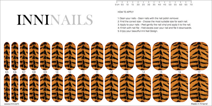 INNI Nails sticker set includes 15 stickers for each hand
