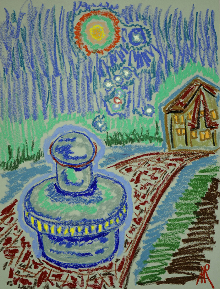 "Concept Drawing of FEG Fuelles Electric Generator by Andrei Ralko. Oil Pastel 18"" x 24"""