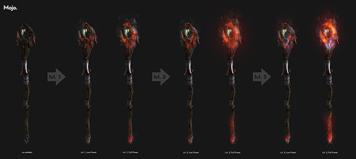 This depicts a sample of the Druid's staff with fire augmentation for three levels, both depleted and with full mana.