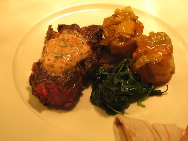 Hanger Steak, Fresh Spinach and Potatoes