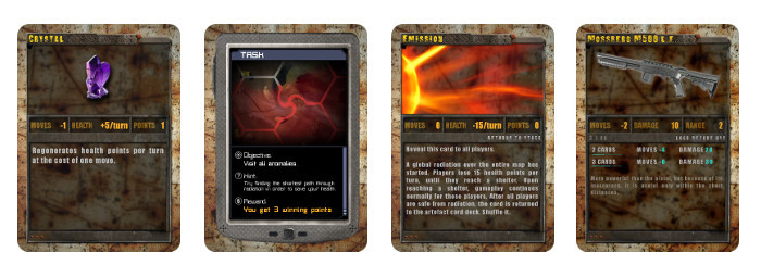 Artefact, mission, emission and weapon cards