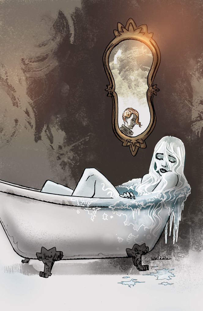 Snow Bathtub Print by Brett Weldele
