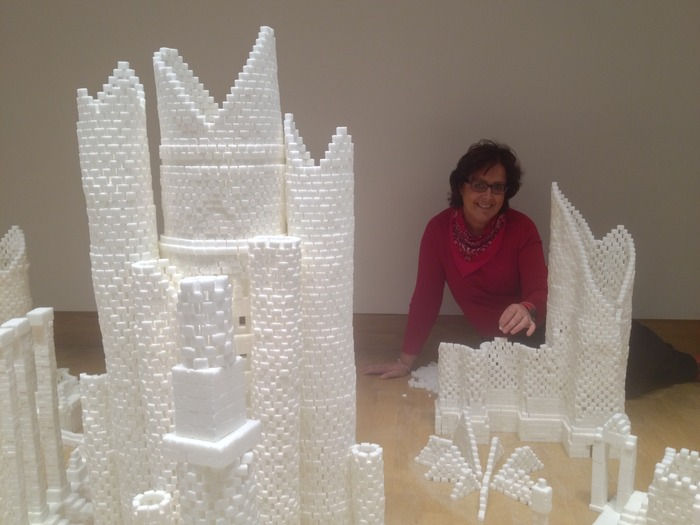 Mary McCaffrey from the sculpture team in Northern Ireland during the construction in November 2013