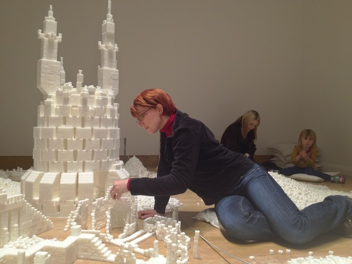A visitor from France constructing part of the Northern Ireland version of Sugar Metropolis in November 2013