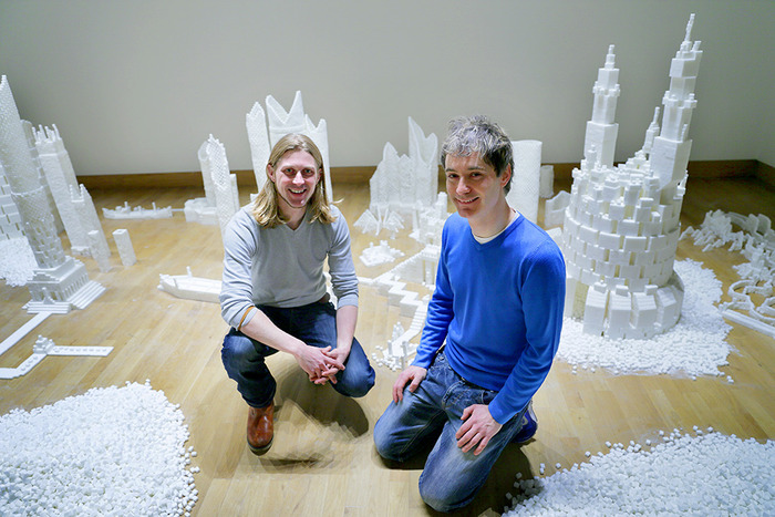 Sculptors Mark Revels and Brendan Jamison at the Northern Ireland version of Sugar Metropolis, November 2013