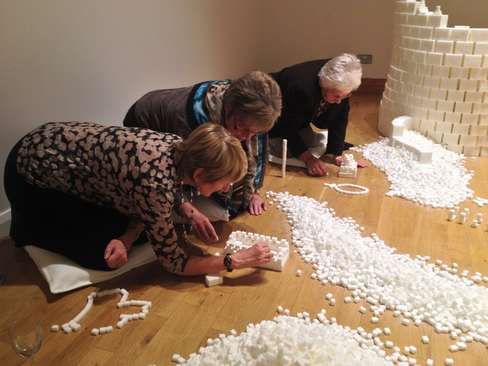 Pensioners enjoying the construction process during the Northern Ireland version of Sugar Metropolis