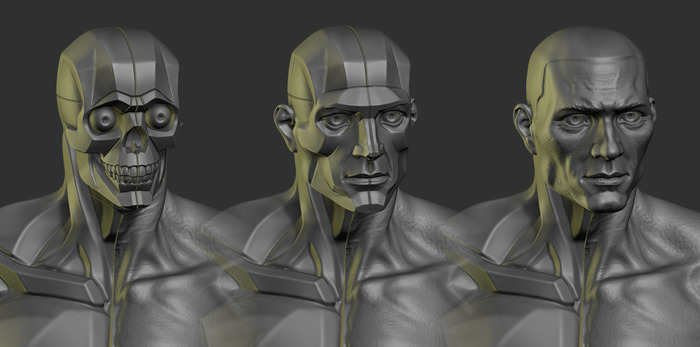 planar skull, planar head and realistic head.