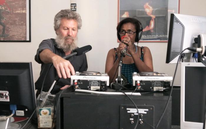 Mulu and her friend Carmelo at Radio Onda Rossa in Rome