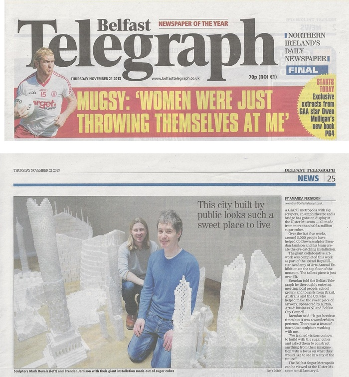 Belfast Telegraph article covering the Northern Ireland version of Sugar Metropolis in November 2013