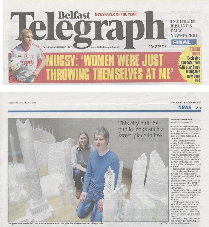 Belfast Telegraph article covering the Northern Ireland version of Sugar Metropolis in November 2013
