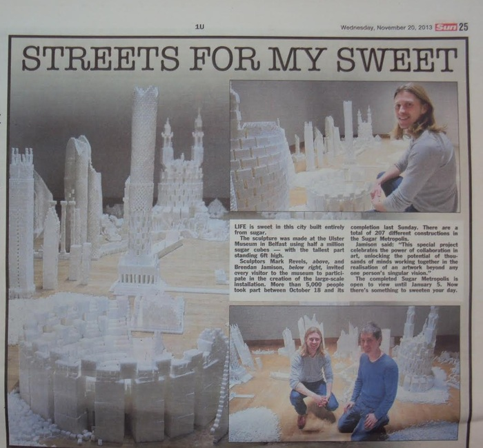 The Sun newspaper (UK)  article covering the Northern Ireland version of Sugar Metropolis in November 2013